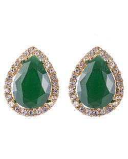 Brinco pequeno de metal dourado com pedra verde escuro e strass cristal Celina