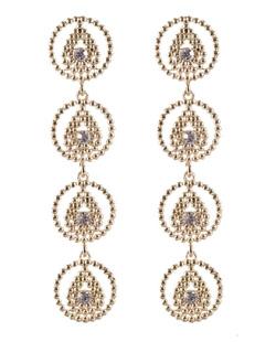 Maxi brinco de metal dourado com strass cristal Amora