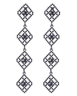 Maxi brinco de metal preto com strass azul Stars