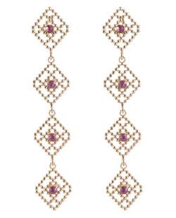 Maxi brinco de metal dourado com strass rosa Stars