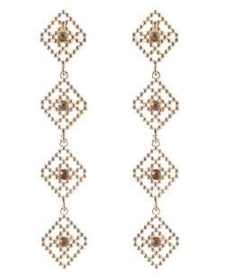 Maxi brinco de metal dourado com strass licor Stars