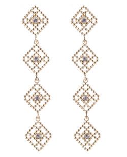 Maxi brinco de metal dourado com strass cristal Stars
