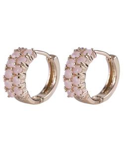Brinco de argola dourado com pedra rosa claro Labres