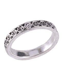 Kit de anel prateado com pedra cristal Katrina