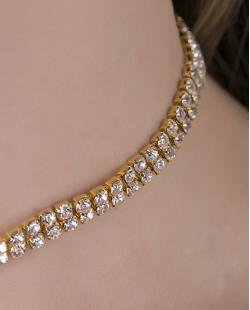 Gargantilha choker de metal dourado com strass cristal Zarón