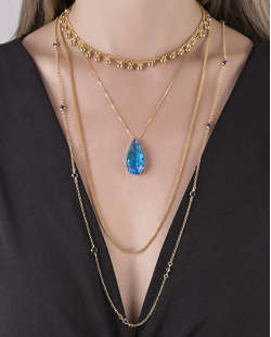 kit 4 colares folheados de metal dourado com pedra fusion turquesa Guess