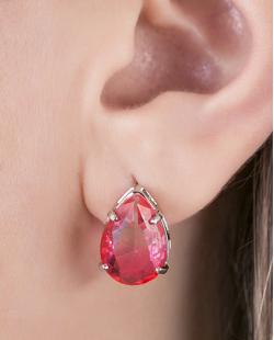 Kit brinco mais colar folheado de metal prateado com pedra rosa Tolozzi