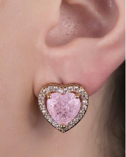 Brinco pequeno de metal dourado com pedra fusion rosa Liars