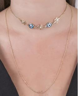 Kit 2 colares de metal dourado Minna