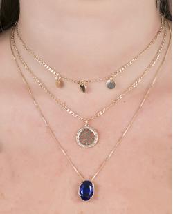 Kit 3 colares de metal dourado com pedra azul Yumes