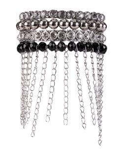 Kit de 4 pulseiras de metal prateado com pedras pretas Aurora
