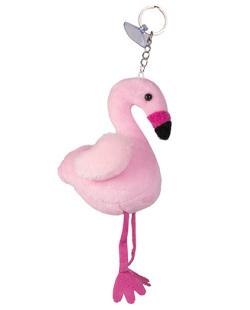 Chaveiro de pompom de pelúcia rosa Flaming
