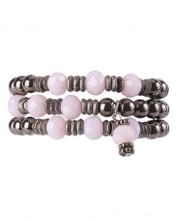 Kit de 3 pulseiras de acrílico grafite e rosa Sintra