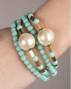 Kit de 4 pulseiras de acrílico verde Loures