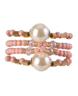 Kit de 4 pulseiras de acrílico rosa Loures