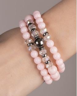 Kit de 3 pulseiras de acrílico rosa Maia