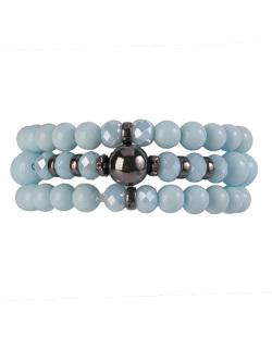 Kit de 3 pulseiras de acrílico azul Maia