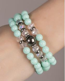 Kit de 3 pulseiras de acrílico verde Maia