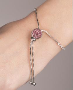 Pulseira de metal prateado com strass rosa Cartaxo