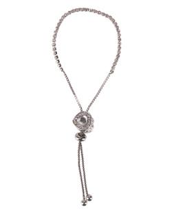 Pulseira de metal prateada com pedra cristal Anahí