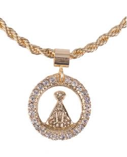 Pulseira de metal dourada com strass cristal Bari