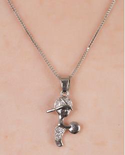 Colar de metal prateado com strass cristal Anhembi