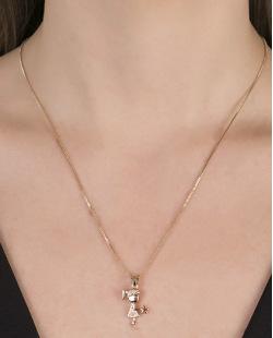 Colar de metal dourado com strass cristal Broklyn