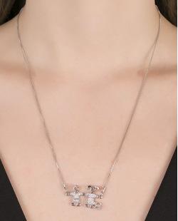 Colar de metal prateado com strass cristal Arizona