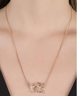 Colar de metal dourado com strass cristal Arizona