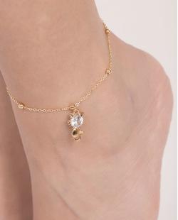 Tornozeleira de metal dourado com pedra cristal Aurora