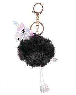 Chaveiro de pompom de pelúcia preto Unicorn