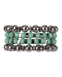 Kit de 4 pulseiras de acrílico grafite com verde Dallas