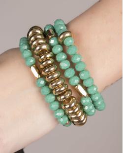 Kit de 4 pulseiras de acrílico dourado com verde Nashville