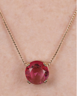 Kit brinco mais colar de metal dourado com pedra rainbow rosa Dover