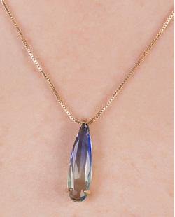 Colar de metal dourado com pedra rainbow azul Versatti
