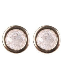 Brinco pequeno de metal dourado com pedra fusion cristal Coimbra