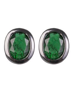 Brinco pequeno de metal grafite com pedra fusion verde Quavo