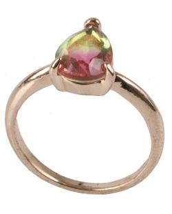 Anel de metal dourado com pedra rainbow rosa Joe