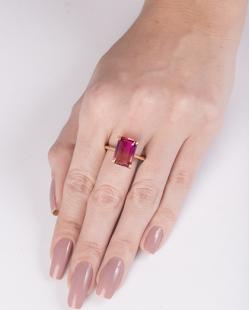 Anel de metal dourado com pedra rainbow pink Modric