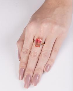 Anel de metal dourado com pedra rainbow rosa Modric