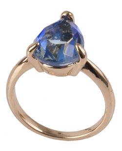 Anel de metal dourado com pedra rainbow azul Switch