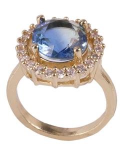 Anel de metal dourado com pedra rainbow azul Kanye