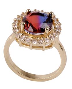 Anel de metal dourado com pedra rainbow vermelha com azul Kanye