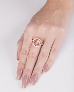Anel de metal dourado com pedra rainbow rosa Kanye