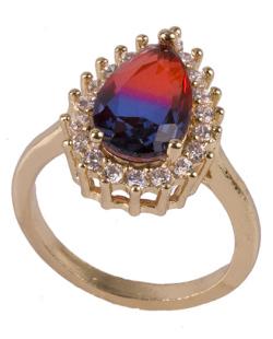 Anel de metal dourado com pedra rainbow vermelha com azul Drake