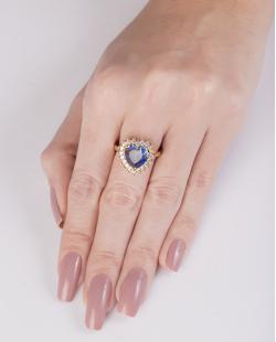 Anel de metal dourado com pedra rainbow azul Rucci