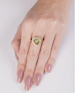 Anel de metal dourado com pedra rainbow amarela Rucci