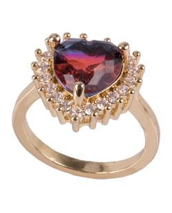 Anel de metal dourado com pedra rainbow vermelha com azul Rucci