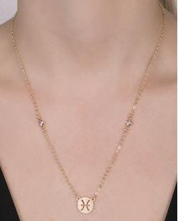 Colar de metal dourado com pedra cristal Peixes