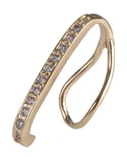 Piercing fake dourado com strass cristal Isa
